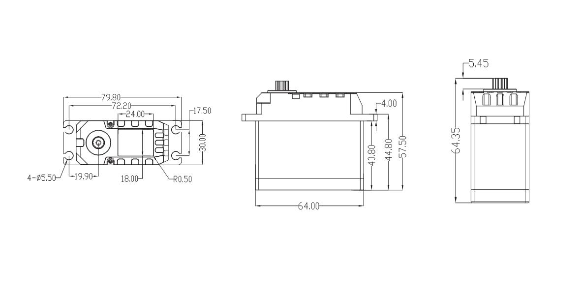 drawing of BLS1100 servo